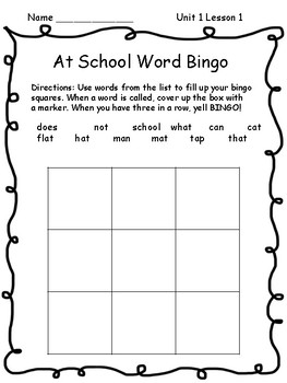 Wonders Unit 1 Lesson 1 Spelling and Sight Word Bingo
