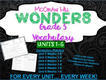 Wonders McGraw Hill Grade 5 Vocabulary Bundle Units 1-6