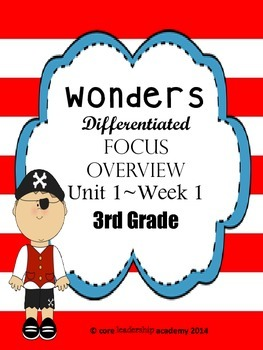 Wonders CCSS~ Differentiated Focus Overview Unit 1 Week 1~3rd Grade
