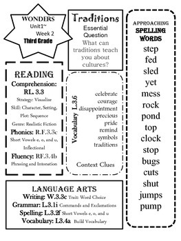 Wonders CCSS~ Differentiated Focus Overview Unit 1 Week 2~3rd Grade