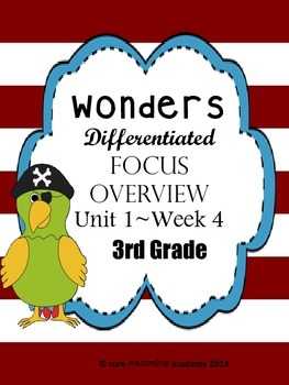 Wonders CCSS~ Differentiated Focus Overview Unit 1 Week 4~3rd Grade