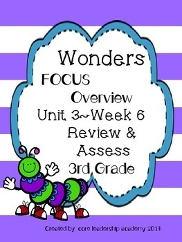 Wonders CCSS- Differentiated Focus Overview ~Unit 3 Week 6 -grade 3