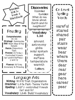Wonders Differentiated  CCSS-Focus Overview ~Unit 3 Week 3 -grade 3