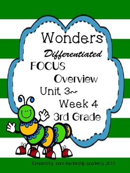 Wonders CCSS-Differentiated Focus Overview ~Unit 3 Week 4 -grade 3