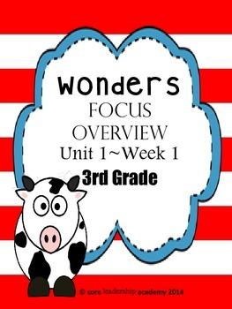 Wonders CCSS~Focus Overview Unit 1 Week 1~3rd Grade