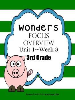 Wonders CCSS~Focus Overview Unit 1 Week 3~3rd Grade