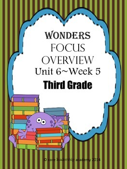 Wonders CCSS~Focus Overview Unit 6 Week 5~3rd Grade