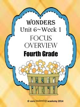 Wonders CCSS~Focus Overview Unit 6 Week 1~4th Grade