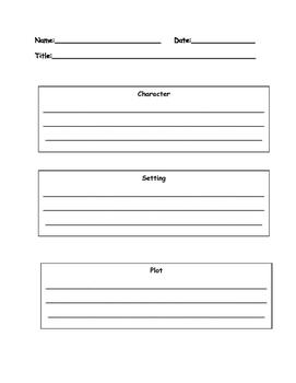 Wonders Character, Setting, and Plot Graphic Organizer