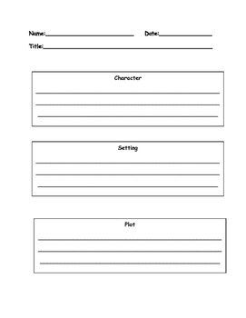Wonders Character, Setting, and Plot Graphic Organizer