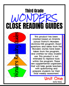 Wonders Close Reading Guides