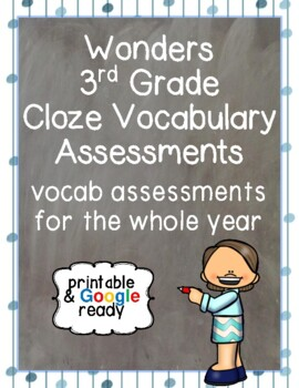Wonders Close Vocabulary Assessments for Third Grade
