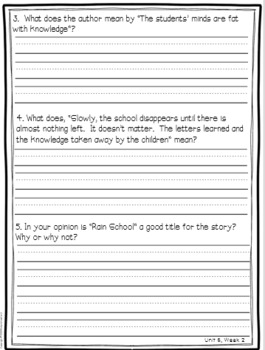 Wonders Reading Comprehension First Grade Unit 6