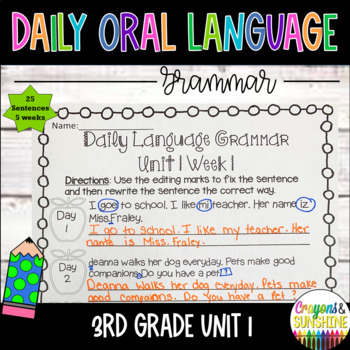 Wonders Daily Oral Language 3rd grade Unit 1