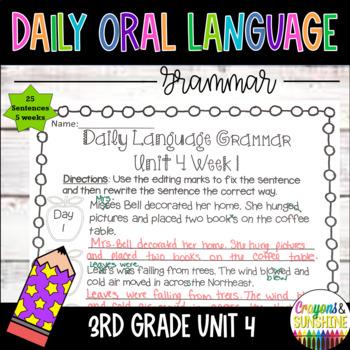 Wonders Daily Oral Language 3rd grade Unit 4