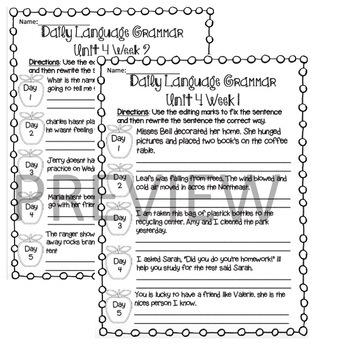 Wonders Daily Oral Language (DOL) 3rd grade Unit 4-Grammar