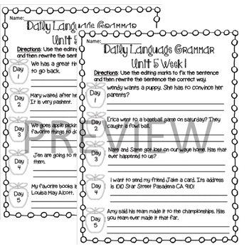 Wonders Daily Oral Language (DOL) 3rd grade Unit 5-Grammar