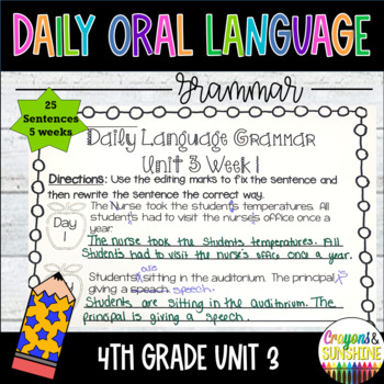 Daily Language 4th Grade Worksheets Teaching Resources TpT