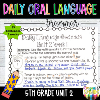 Wonders Daily Oral Language 5th grade Unit 2