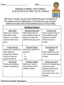 Wonders Differentiated Spelling Menu Units 4-6