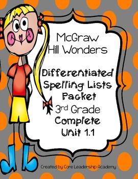 Wonders  Differentiated Spelling Word List~ Unit 1 Week 1