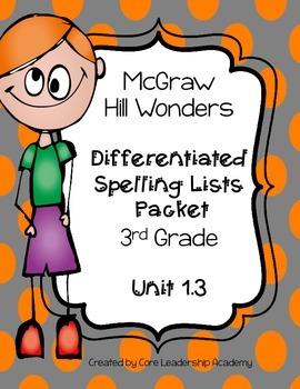 Wonders  Differentiated Spelling Word List~ Unit 1 Week 3