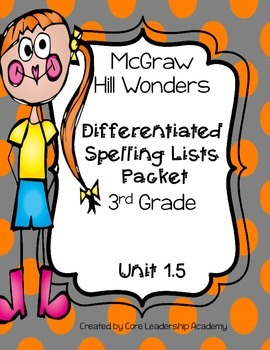 Wonders  Differentiated Spelling Word List~ Unit 1 Week 5