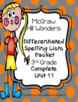 Wonders  Differentiated SpellingWord List~ Unit 1 Complete Set