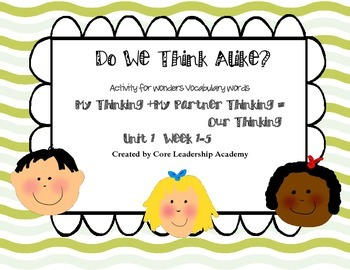 "Wonders ""Do We Think Alike?"" Vocabulary ~Unit 1"