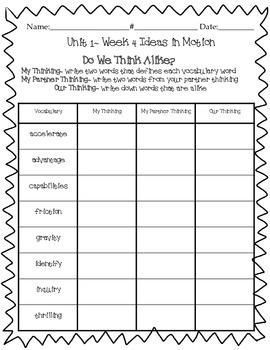 "Wonders ""Do We Think Alike?"" Vocabulary ~Unit 1 4th Grade"