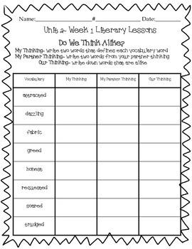 "Wonders ""Do We Think Alike?"" Vocabulary ~Unit 2 4th Grade"