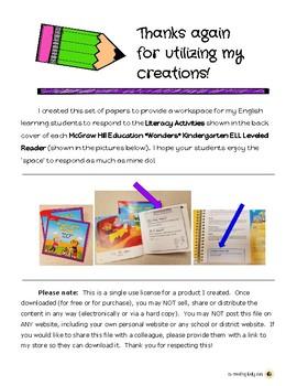 Wonders ELL Leveled Readers-Literacy Activities Workpages-Kindergarten FREEBIE
