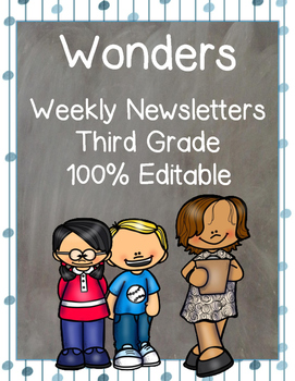 Wonders 3rd Grade: Editable Newsletters for the Entire School Year