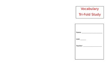 Wonders Fifth Grade Unit 1 Vocabulary Trifold