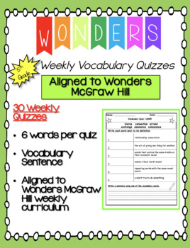 Wonders Fifth Grade Weekly Vocabulary Quizzes (Units 1-6)