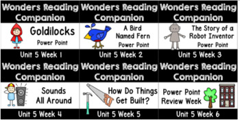 Wonders First Grade BUNDLE Unit 5 Weeks 1-6 Power Points