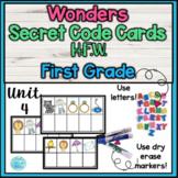 Wonders First Grade H.F.W. Secret Code Cards- Unit 4
