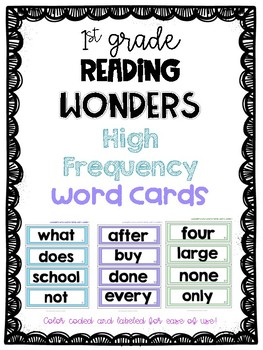 Wonders First Grade High Frequency Word Cards