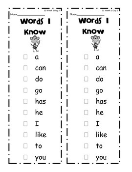 Wonders (2014) - First Grade - High Frequency Word List