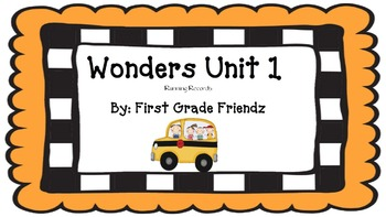 Wonders First Grade Running Records Unit 1