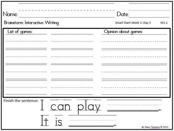 Wonders First Grade Smart Start Week 1 Extended Assessments