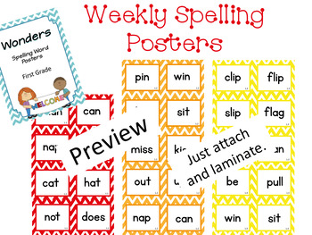 Wonders First Grade Spelling Posters and Sight Words Bundle
