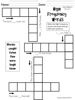 Wonders First Grade: Spelling and High Frequency Resources- Unit 4