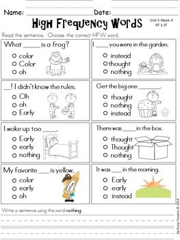 Wonders First Grade: Spelling and High Frequency Resources- Unit 5