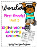 Wonders First Grade Unit 3 Sight Word Activity Sheets
