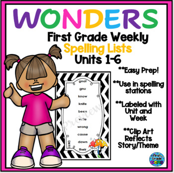 Wonders First Grade Units 1-6 Spelling Cards