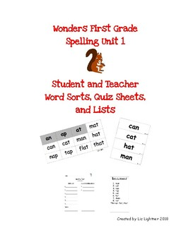 Wonders First Grade Word Study Spelling Unit 1