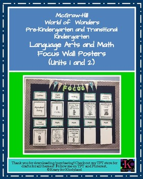 Wonders Focus Wall Posters: Units 1 and 2 (Pre-K and Transitional K)