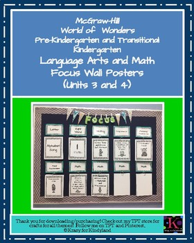 Wonders Focus Wall Posters: Units 3 and 4 (Pre-K and Transitional K)