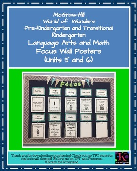 Wonders Focus Wall Posters: Units 5 and 6 (Pre-K and Transitional K)